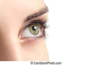 femme, haut fin, oeil vert