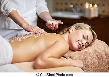 femme, haut, mensonge, fin, spa, avoir, masage