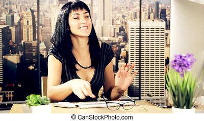 femme heureuse, business, danse