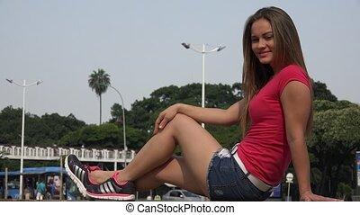 femme, hispanique, séance