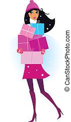 femme, hiver, dons