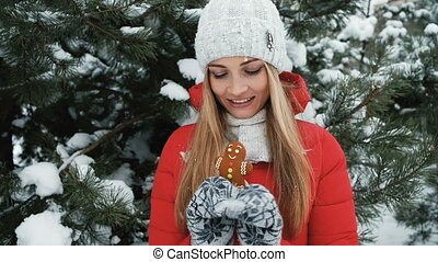 femme, hiver, haut, blonds, pain épice, fin, promenades, manger, paysage