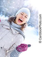femme, hiver, outdoor., rire, amusement, girl, avoir, heureux