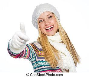 femme, hiver, projection, haut, jeune, pouces, vêtements, heureux