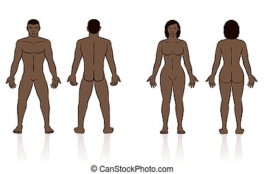 femme, homme, corps, devant, dos humain, noir