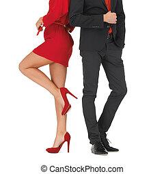 femme homme, robe, plainte rouge