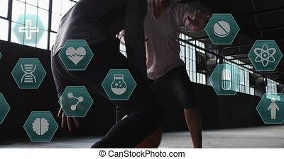femme, homme, sur, icônes, basket-ball, jouer, animation, monde médical