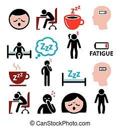 femme, icônes, ensemble, somnolent, fatigué, sressed, vecteur, fatigue, conception, ou, homme