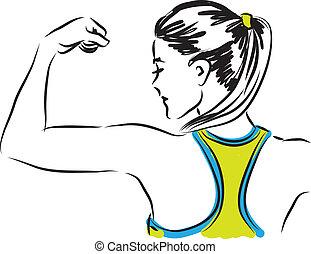 femme, illustra, fitness