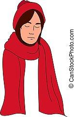 femme, illustration, arrière-plan., vecteur, blanc, écharpe, rouges