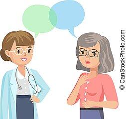 femme, illustration., docteur, patient., conversation, vecteur, personne agee, physician.