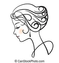 femme, illustration, figure, vecteur, beau