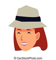 femme, illustration, figure, vecteur, sourire, chapeau, dessin animé