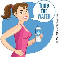 femme, illustration., sain, concept., boisson, vecteur, eau, bouteille, fitness, dessin animé
