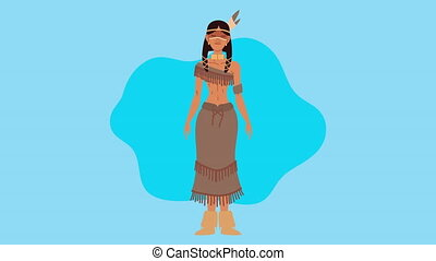 femme, indigenus, animation, ethnicité, caractère