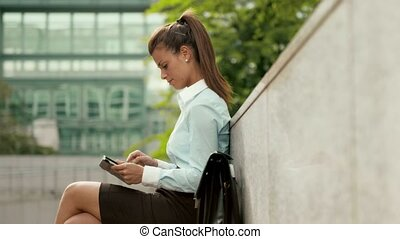 femme, informatique, business, tablette