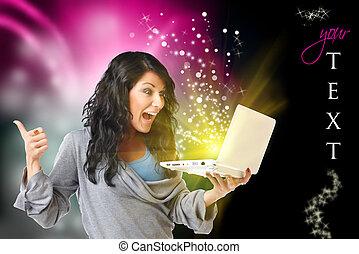 femme, informatique, heureux
