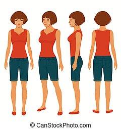femme, isolé, dos, devant, vue, côté