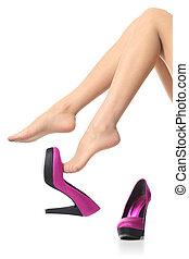 femme, jambes, élevé, déshabiller, talons, pendiller, beau