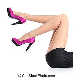 femme, jambes, élevé, fuchsia, talons, beau