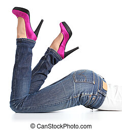 femme, jambes, bas, élevé, jean, mensonge, fuchsia, talons, beau