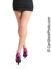 femme, jambes, marche, haute vue, fuchsia, dos, talons