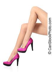 femme, jambes, porter, élevé, stiletto talons, beau