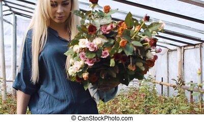 femme, jardin, bouquet, rose, découpage, serre