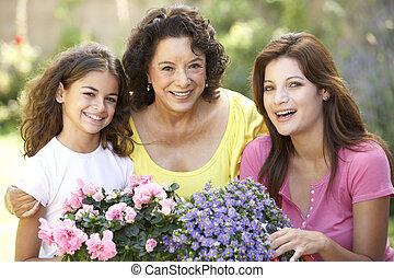 femme, jardinage, petite-fille, ensemble, adulte, fille, personne agee