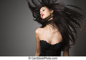 femme, jeter, long, hair.