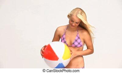 femme, jeu boule