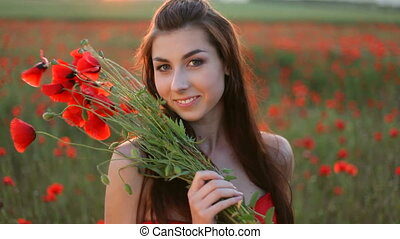 femme, jeune, bouquet, rouges, pop