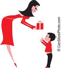 femme, jeune, cadeau, child-boy, donner