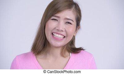 femme, jeune, figure, asiatique, sourire heureux