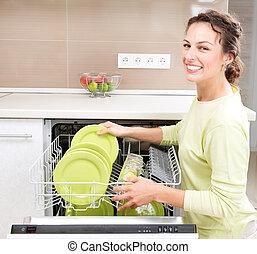 femme, jeune, housework., dishwasher., wash-up, cuisine