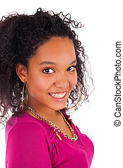 femme, jeune, longs cheveux, américain, africaine