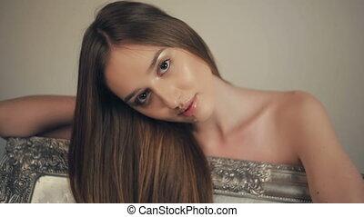 femme, jeune, longs cheveux, portrait, sexy