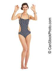 femme, jeune, longueur, portrait, entiers, projection, sourire, maillot de bain