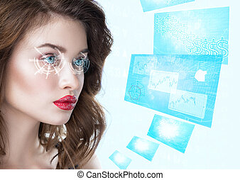 femme, jeune regarder, intelligent, futuriste, lunettes