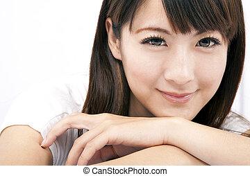 femme, jeune, sourire, asiatique, beau
