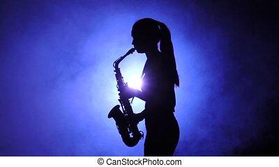 femme, jeux, enfumé, silhouette., mouvement, saxophone, lent, studio
