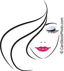 femme, joli, figure, silhouette