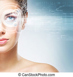 femme, laser, jeune, o, avenir, séduisant, hologramme