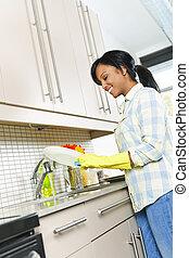 femme, lavage, jeune, plats