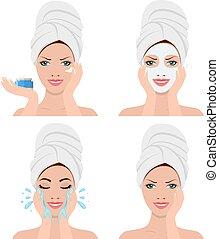 femme, lavage, projection, figure, quatre, étapes
