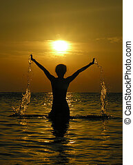 femme, levers de soleil, dro