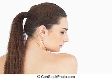 femme, longs cheveux