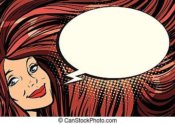 femme, longs cheveux, comique, bulle, joyeux
