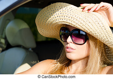 femme, lunettes soleil, séduisant, sunhat