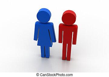 femme, mâle, icône, linéaire